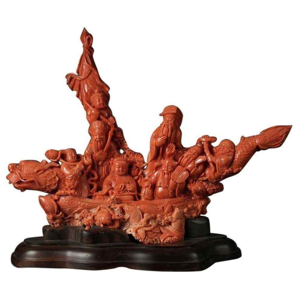 Eccezionale gruppo di figurine in corallo intagliato cinese