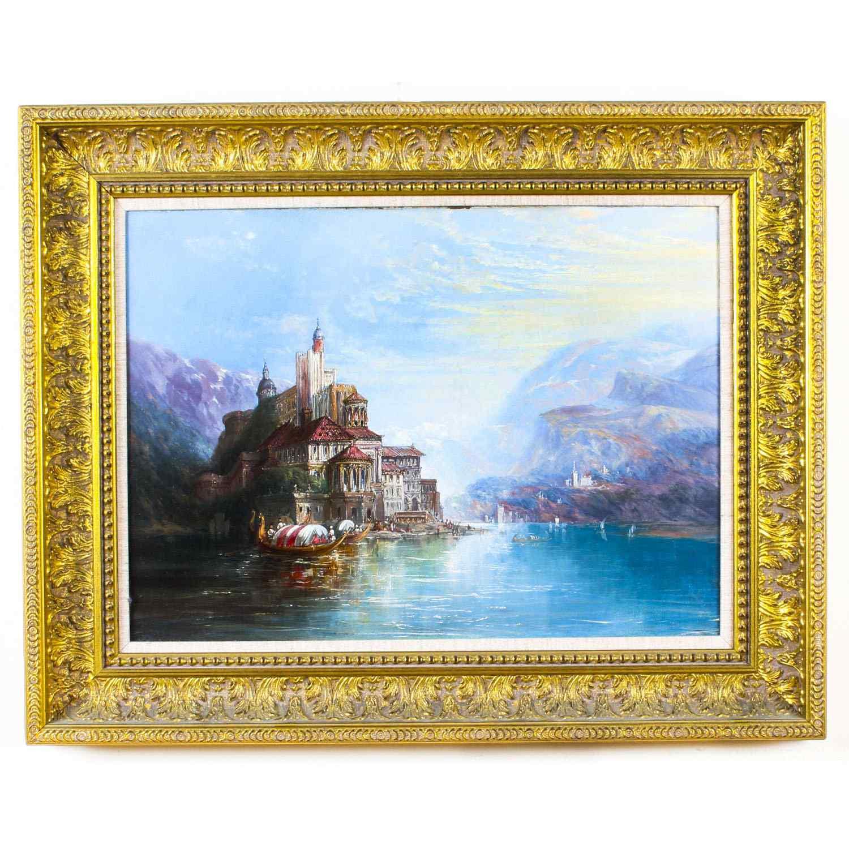 Dipinto ad olio su tela antico paesaggio XIX secolo