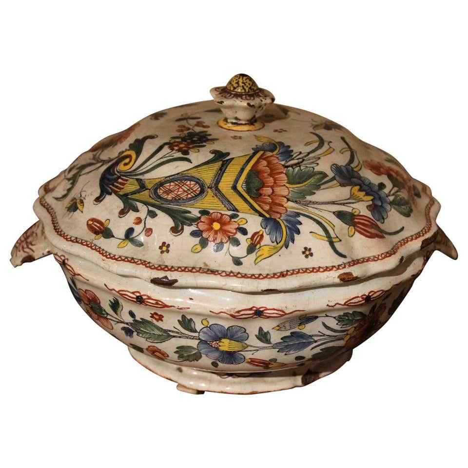 Polycrome Rouen Majolica Soup Tureen 18th century