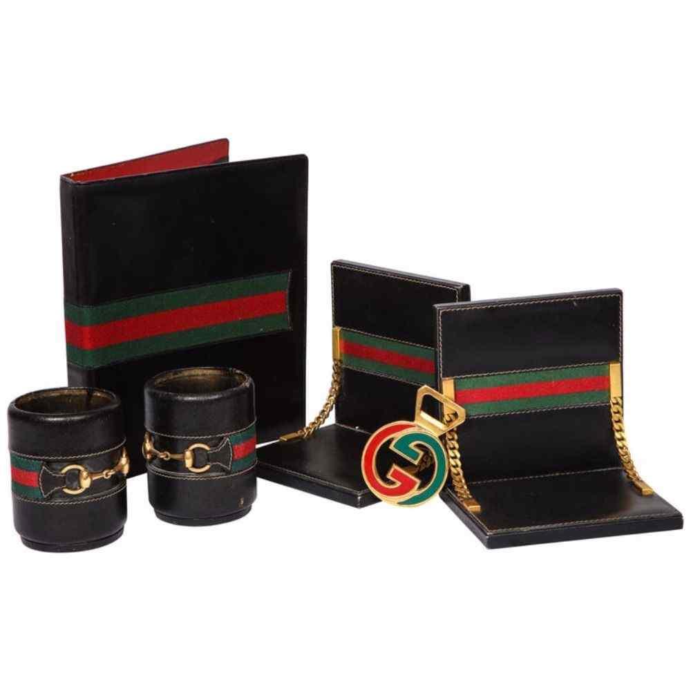 Rara scrivania vintage in pelle italiana Gucci 8 pezzi Se