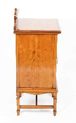 Antique Victorian Satinwood & Inlaid Bedside Cabinet 19th C-0