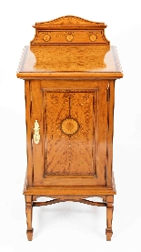 Antique Victorian Satinwood & Inlaid Bedside Cabinet 19th C-1