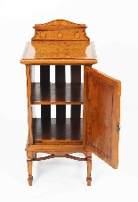Antique Victorian Satinwood & Inlaid Bedside Cabinet 19th C-7