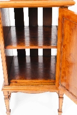 Antique Victorian Satinwood & Inlaid Bedside Cabinet 19th C-8