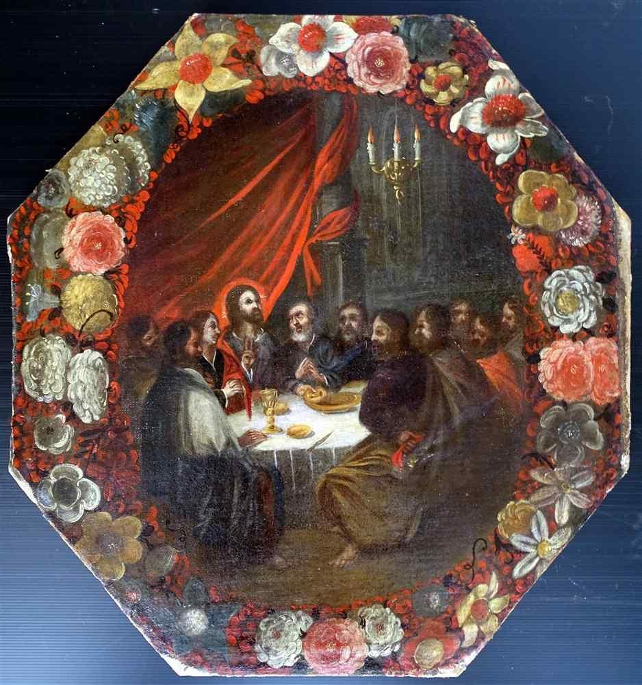 L'Ultima Cena in una ghirlanda di fiori Scuola olandese 16 °