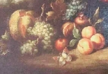 Old painting still life with flowers and fruit-2