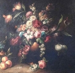 Old painting still life with flowers and fruit-3