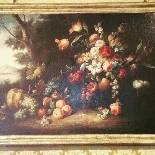 Old painting still life with flowers and fruit-0
