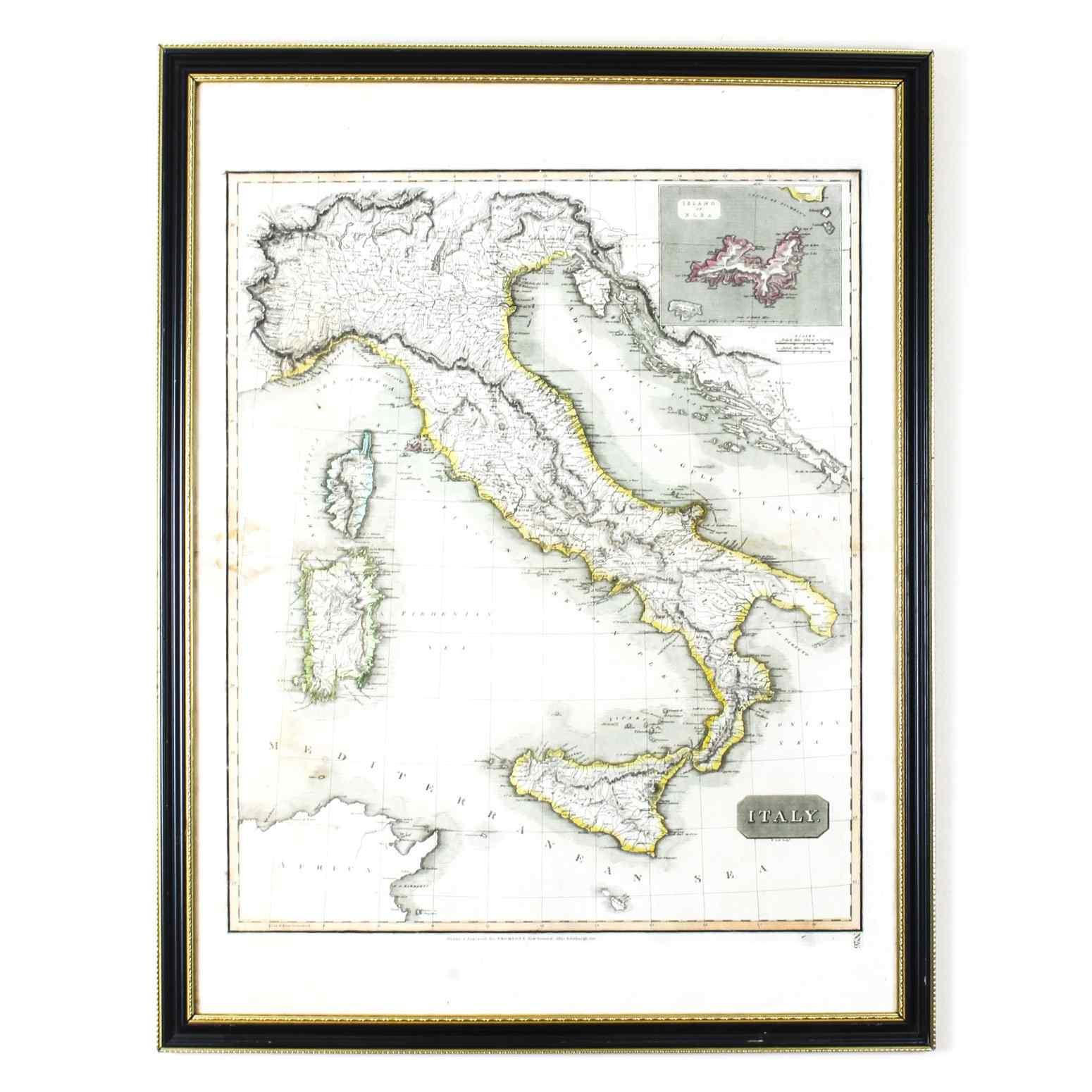 Antica mappa d'Italia disegnata e incisa R. Scott per Thomso