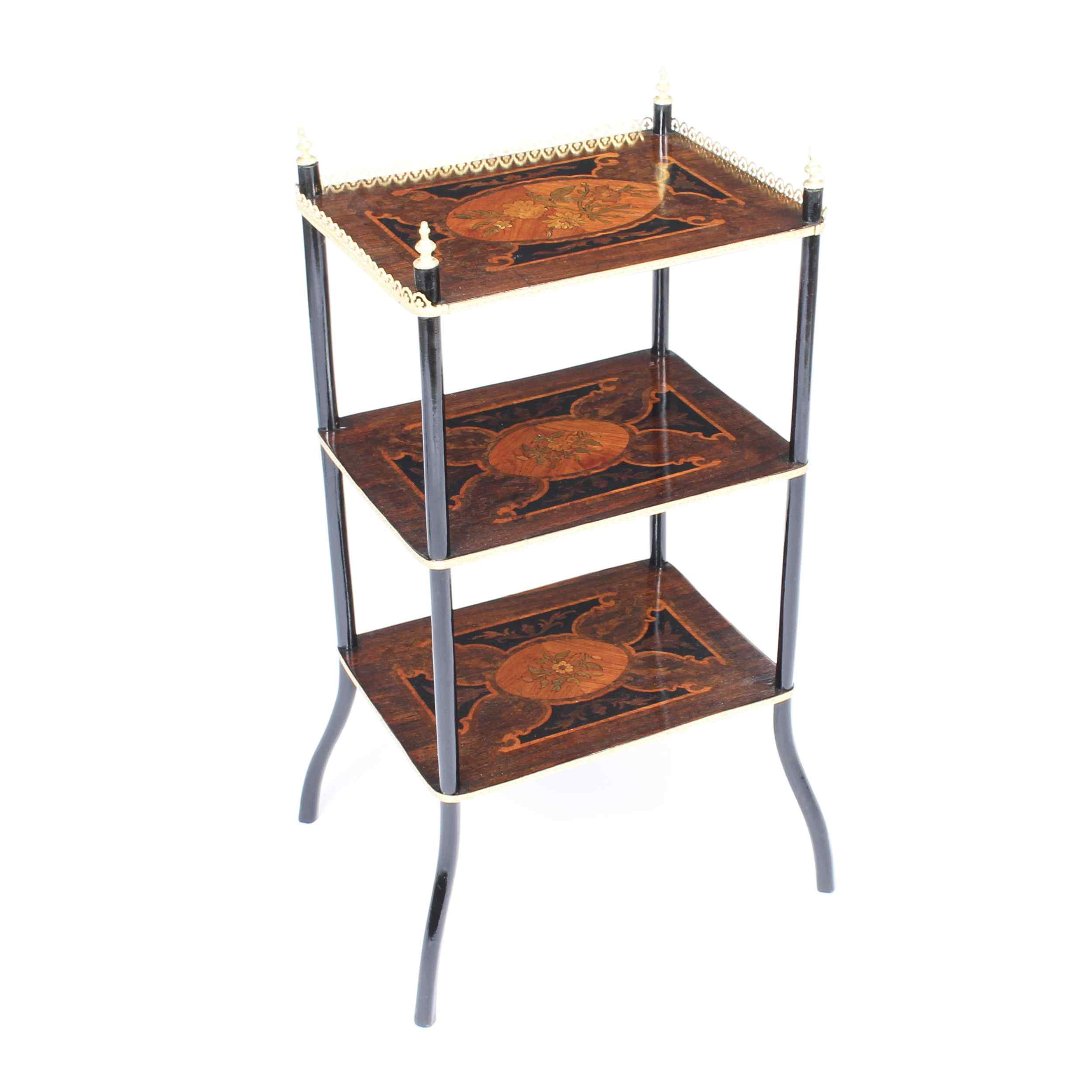Antique French Marquetry & Ormolu Three-tier Etagere Table