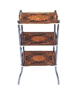 Antique French Marquetry & Ormolu Three-tier Etagere Table-0