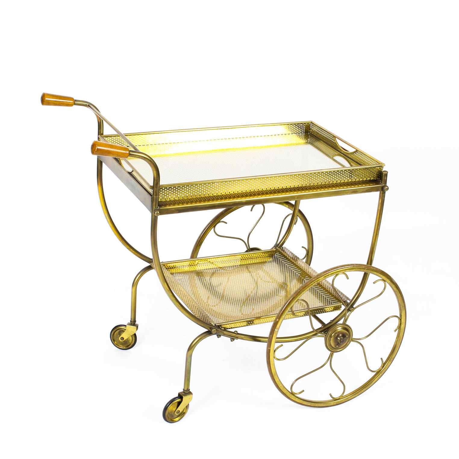 Antique French Modernist Drinks Serving Trolley Mid Century