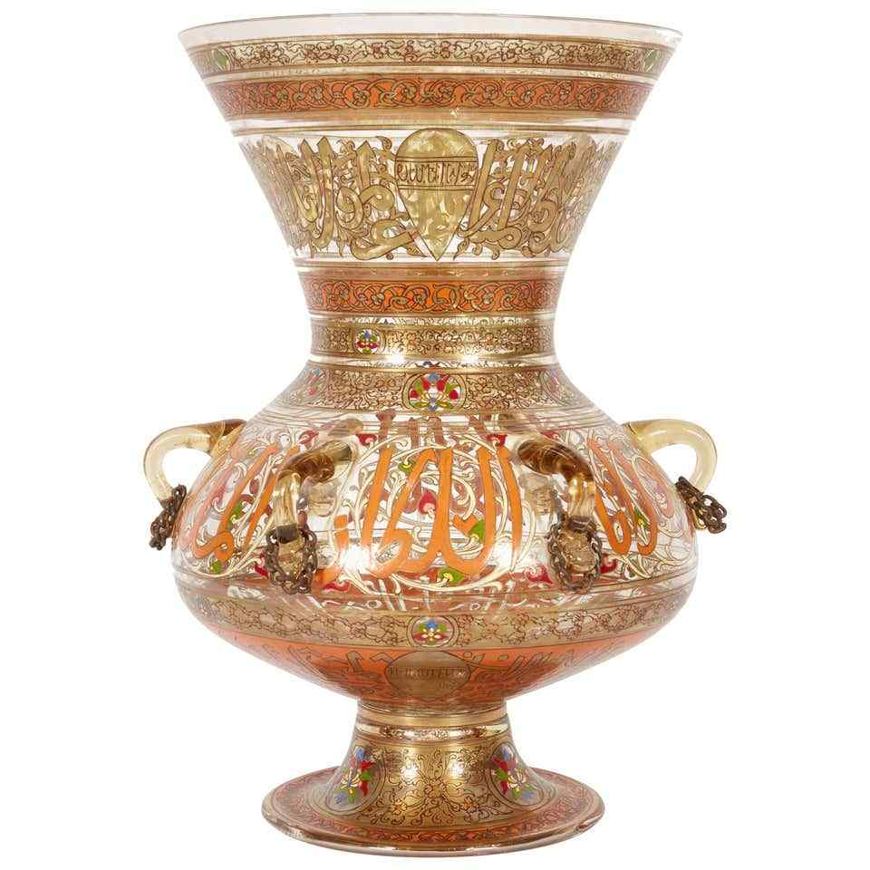 Rare French Enameled Mamluk Revival Glass Mosque Lamp by Phi