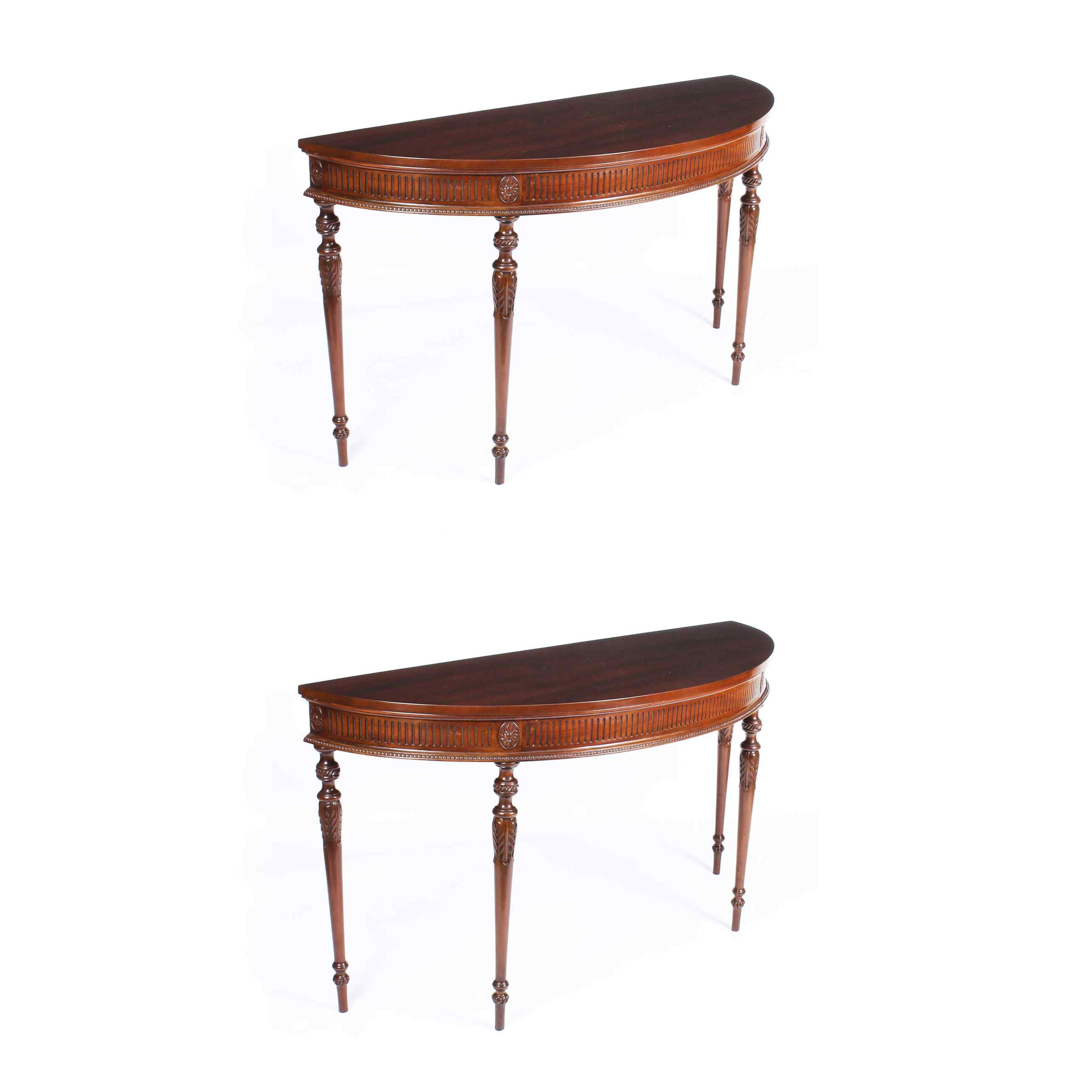 Antique Pair Edwardian Mahogany Console Side Tables 19th C