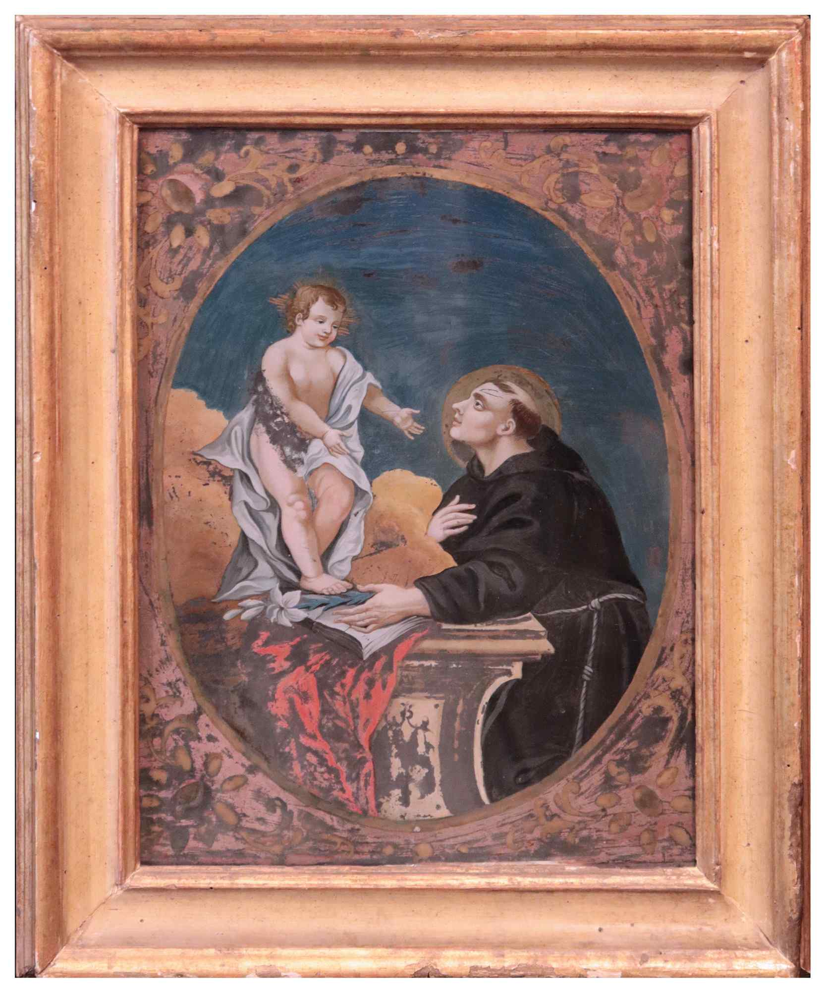 Glass painting: Saint Anthony with the Child Jesus, '700