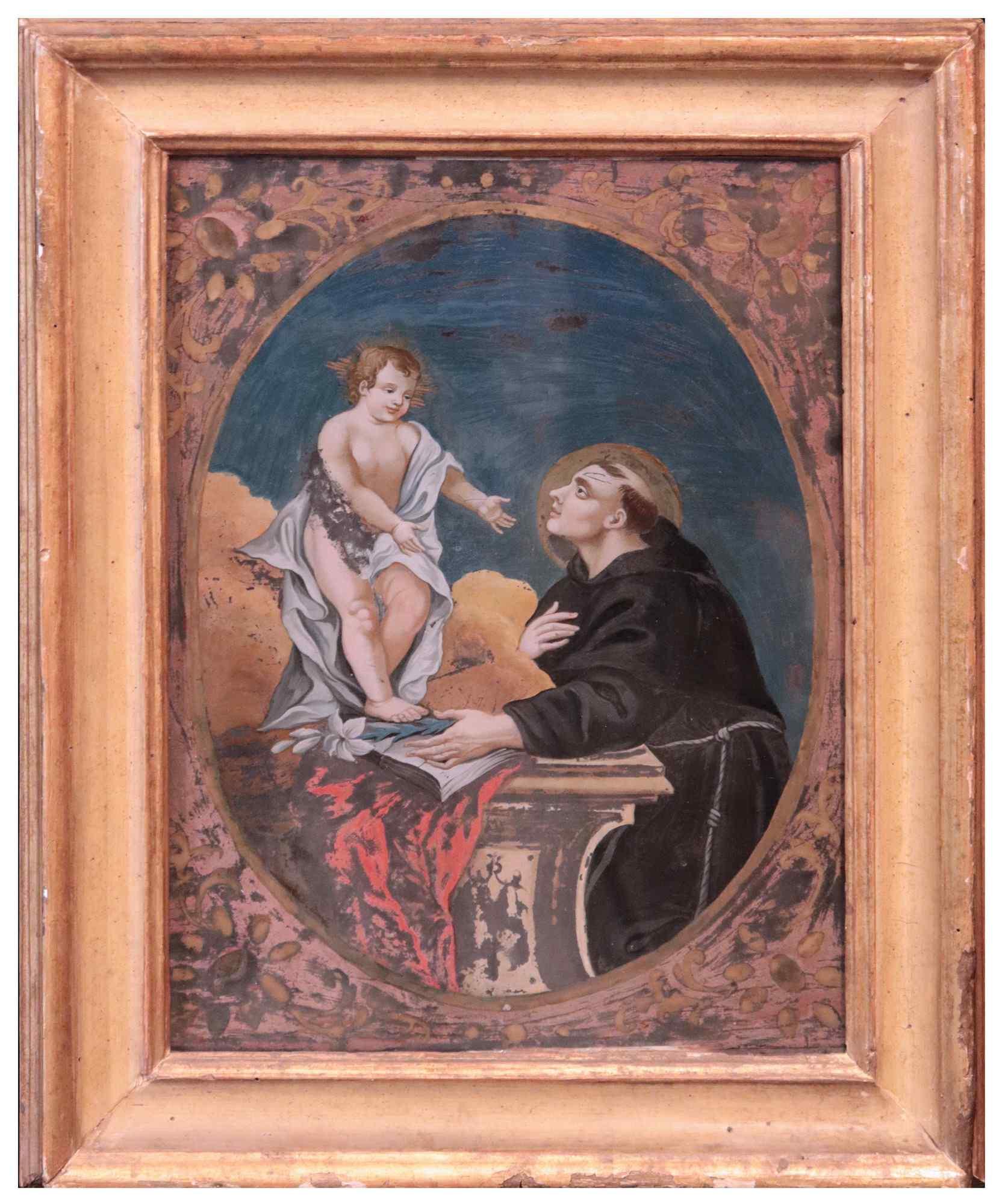 Dipinto su vetro: Sant'Antonio con Gesù Bambino, '700