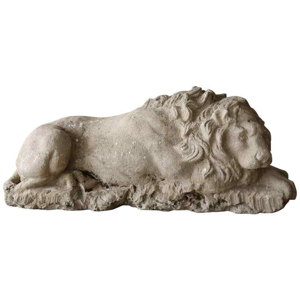 18th Century large lion stone sculpture