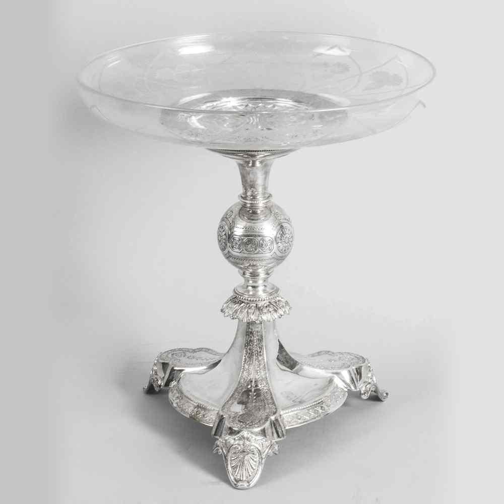 Centrotavola Comport in vetro inciso e placcato argento anti