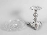 Centrotavola Comport in vetro inciso e placcato argento anti-6