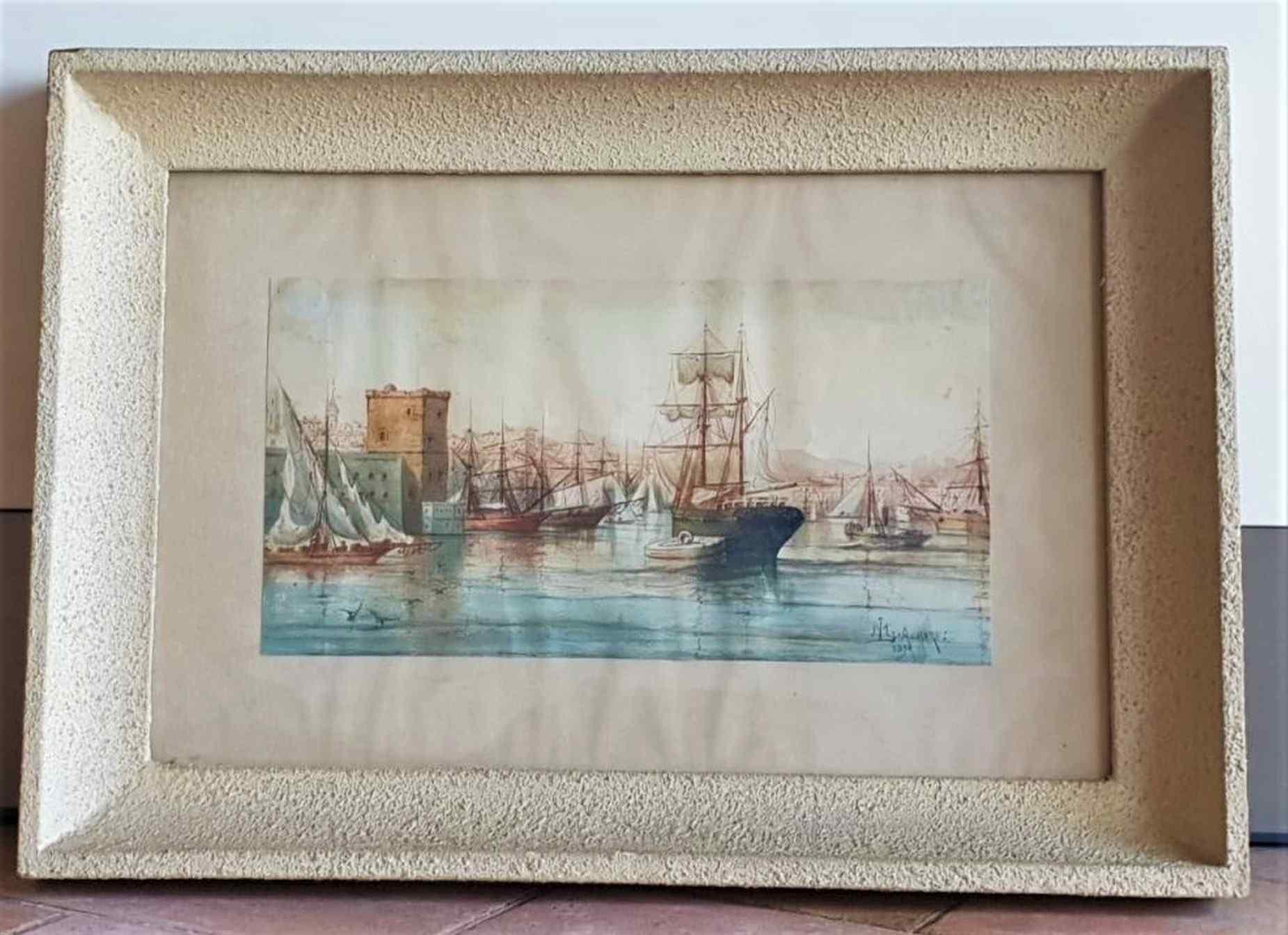 M Achard, Port De Marseille, acquerello del XIX secolo