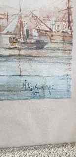 M Achard, Port De Marseille, acquerello del XIX secolo-10