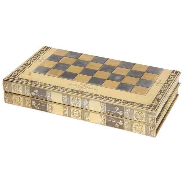 Rare English Silver-Gilt Book-Form Chess and Backgammon Game