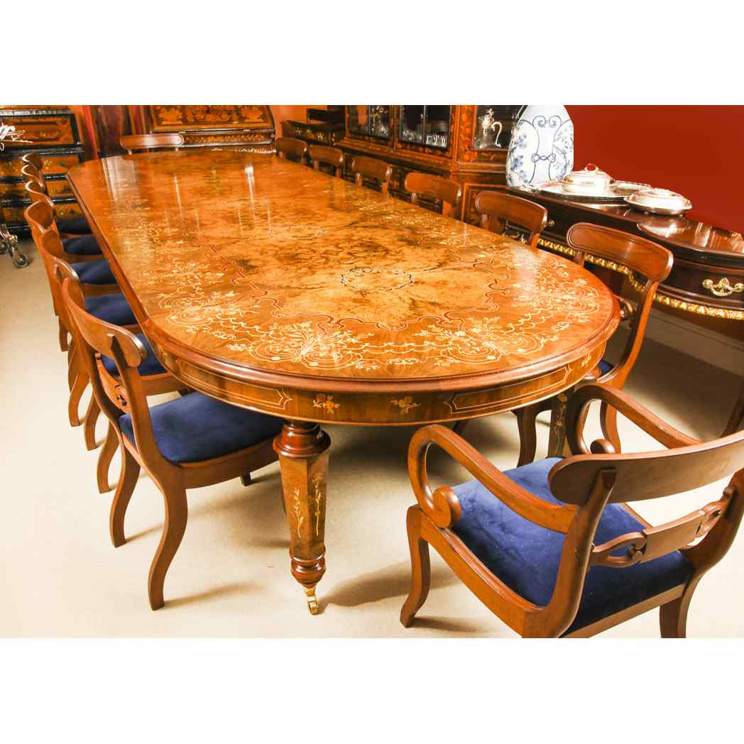 Bespoke Marquetry Dining Table & 14 Antique Dining Chairs
