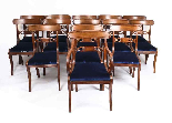 Bespoke Marquetry Dining Table & 14 Antique Dining Chairs-6