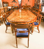 Bespoke Marquetry Dining Table & 14 Antique Dining Chairs-2
