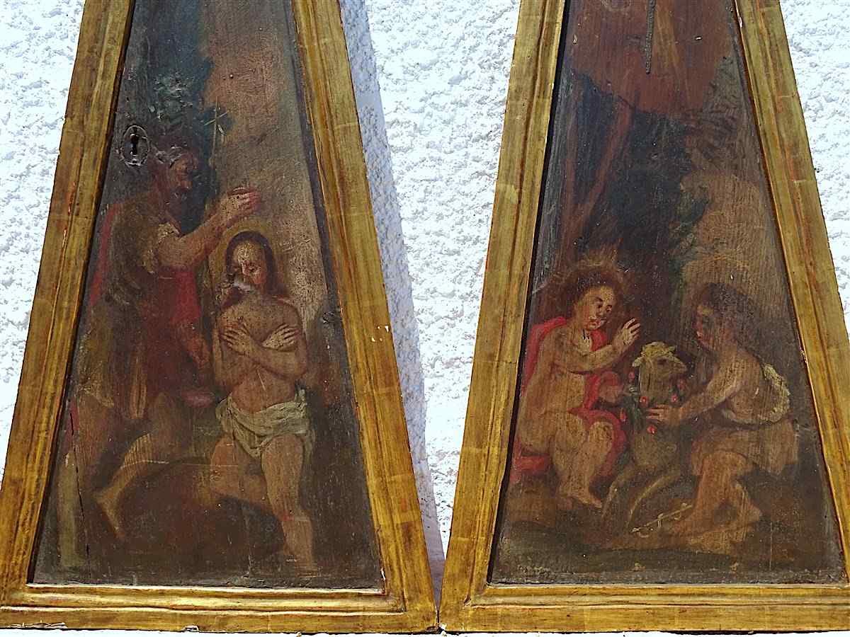 5 importanti pannelli d'altare dipinti del XVII secolo