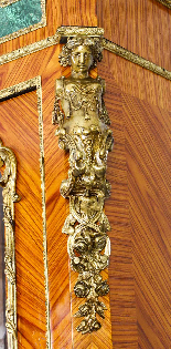 Mobiletto antico francese in legno di malachite e vitello Or-5