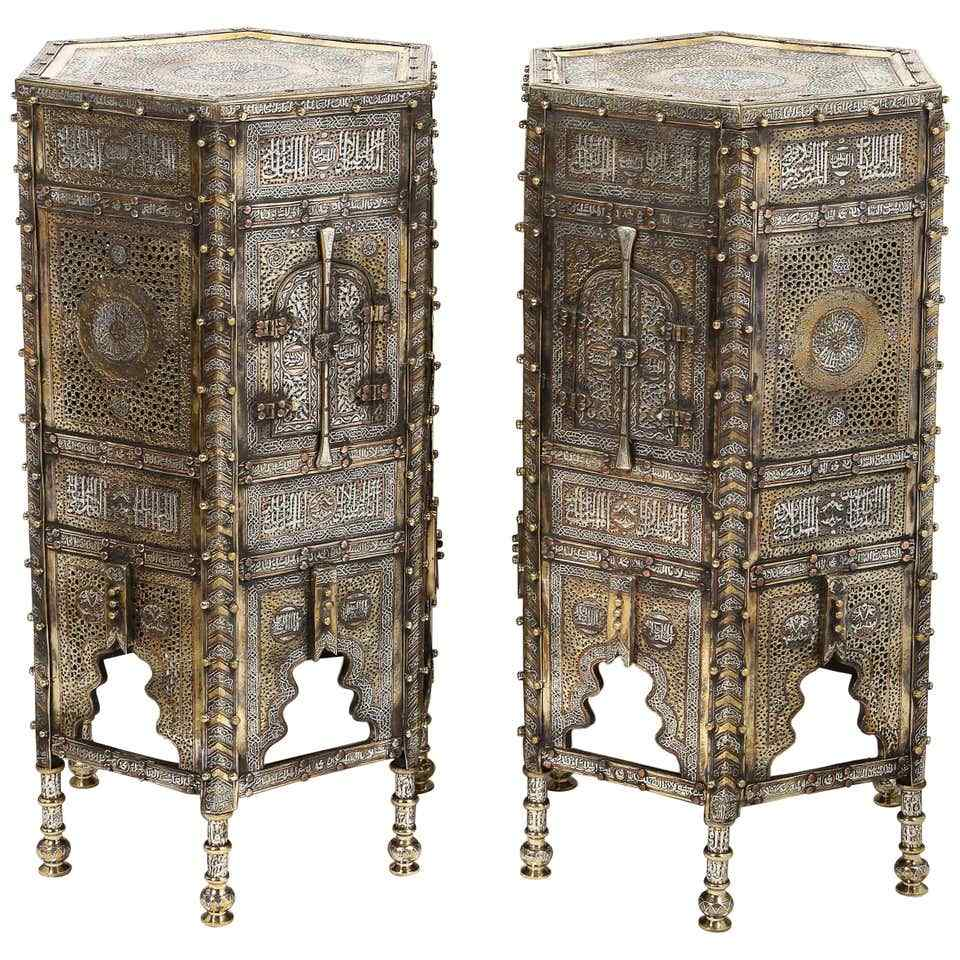 Eccezionale coppia di islamici Mamluk Revival argento intars