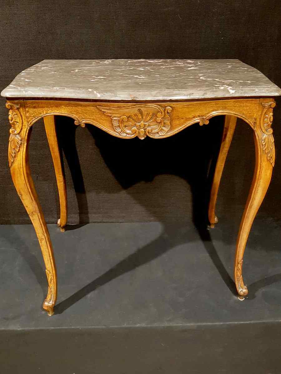 Table De Milieu Louis XV Et Son Marbre, XIXe.