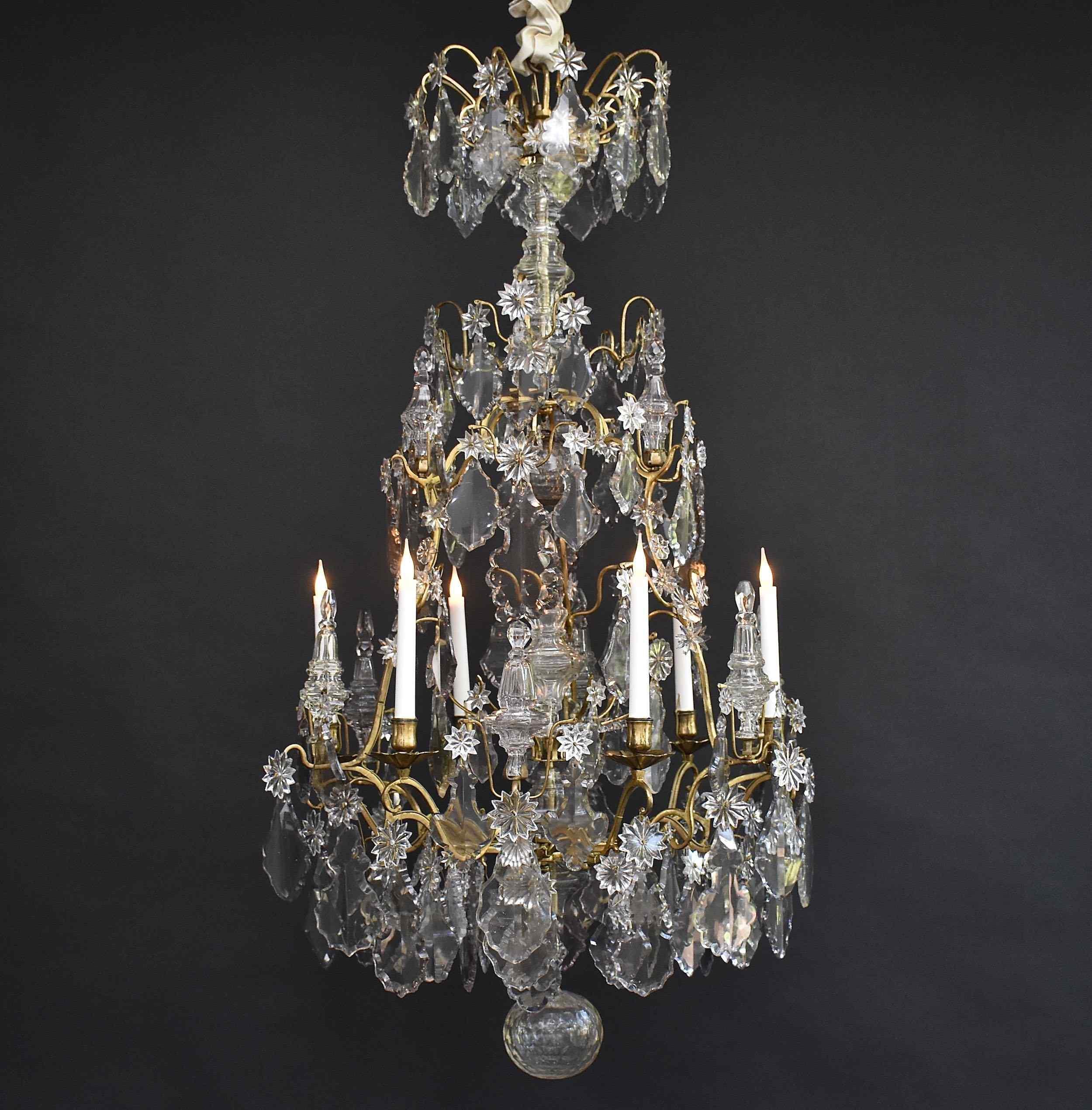 18th c. gilt bronze Louis XV chandelier 'lustre cage'