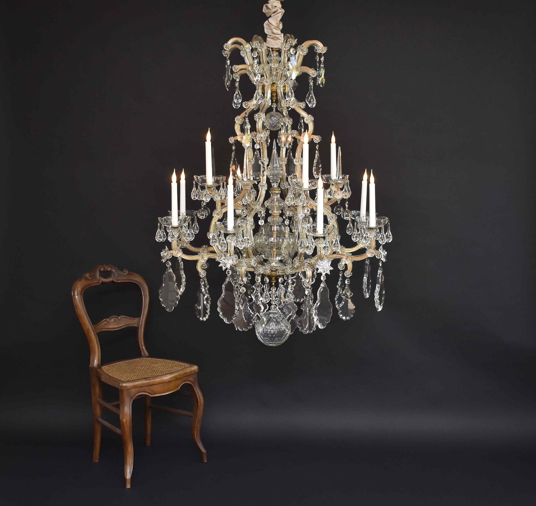 XIX sec. grande lampadario di cristallo di