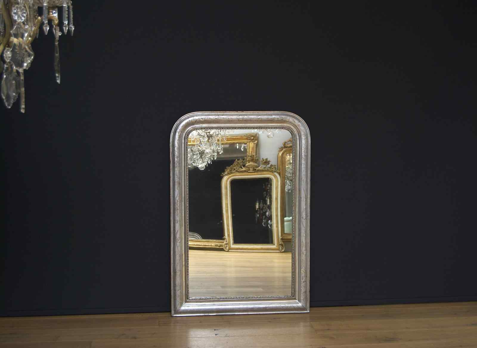 19th c. antique French silvered mirror Louis-Philippe