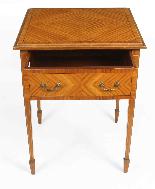 Tavolino antico vittoriano in legno satinato del XIX secolo-4