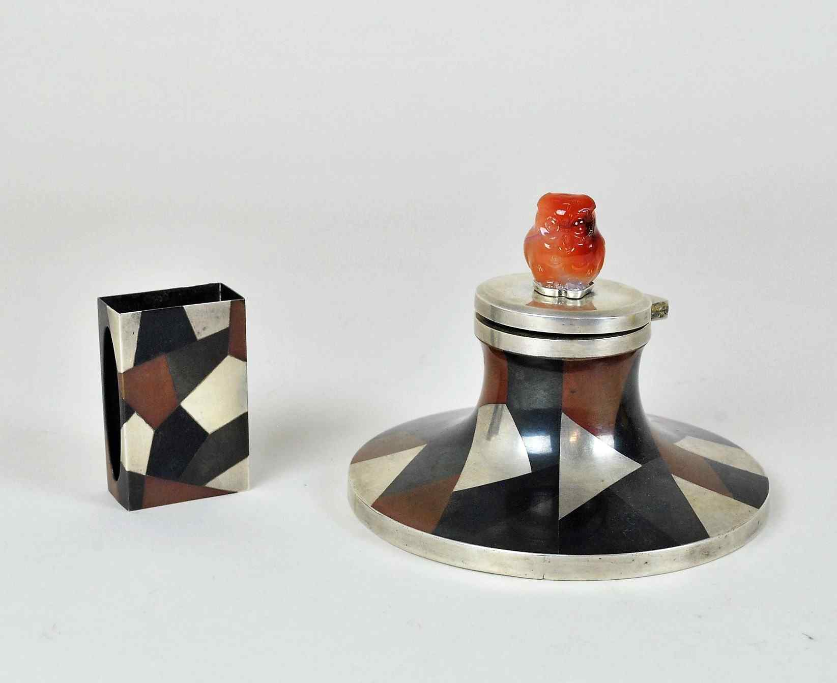 Calamaio e scatola di fiammiferi smaltati, Yamanaka, art déc