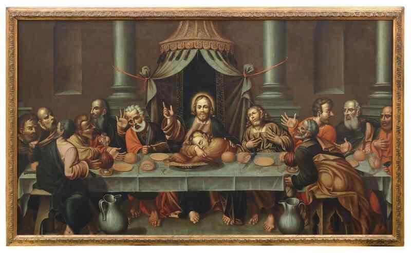 Peinture ancienne du 17ème siècle - LAST SUPPER
