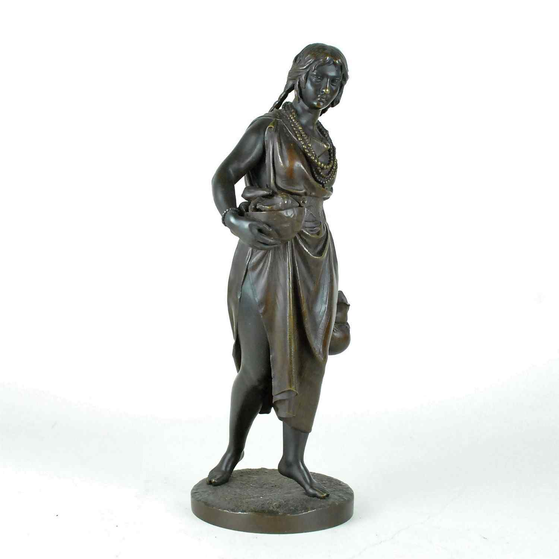 C Cumberworth, Donna di Domingo, bronzo firmato, XIX secolo