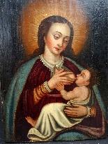 Vergine del latte, scuola ispano-fiamminga del XIV secolo-6