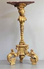 Antico Gueridon del XVIII secolo -dorato e scolpito-3