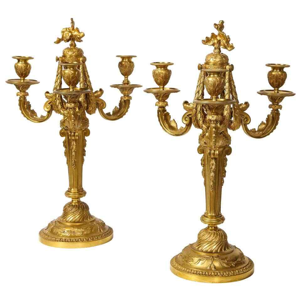Очень тонкая и элегантная пара французского стиля Людовика XV Ormolu B