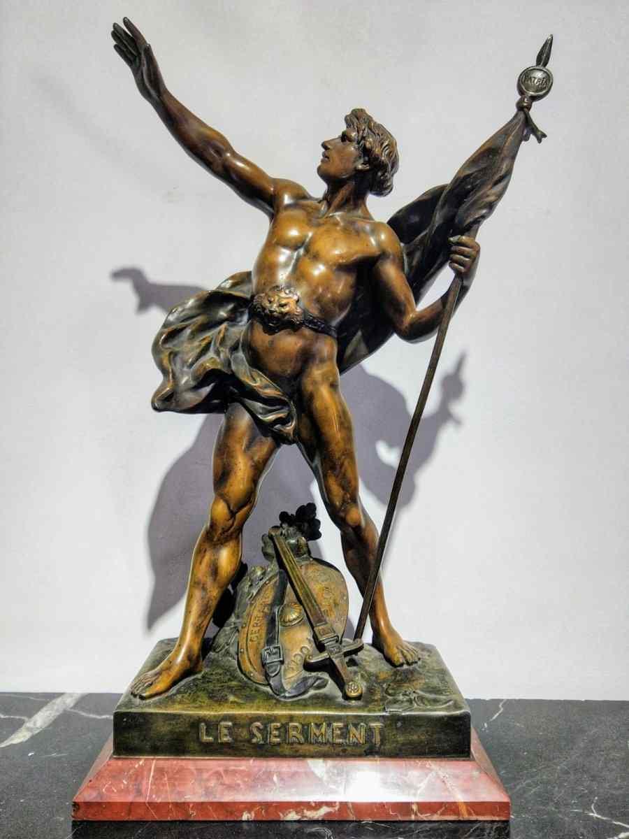 Émile Louis Picault (1833-1915) Sculpture H 56 Cm Le Serment