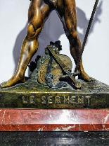 Émile Louis Picault (1833-1915) Sculpture H 56 Cm Le Serment-3