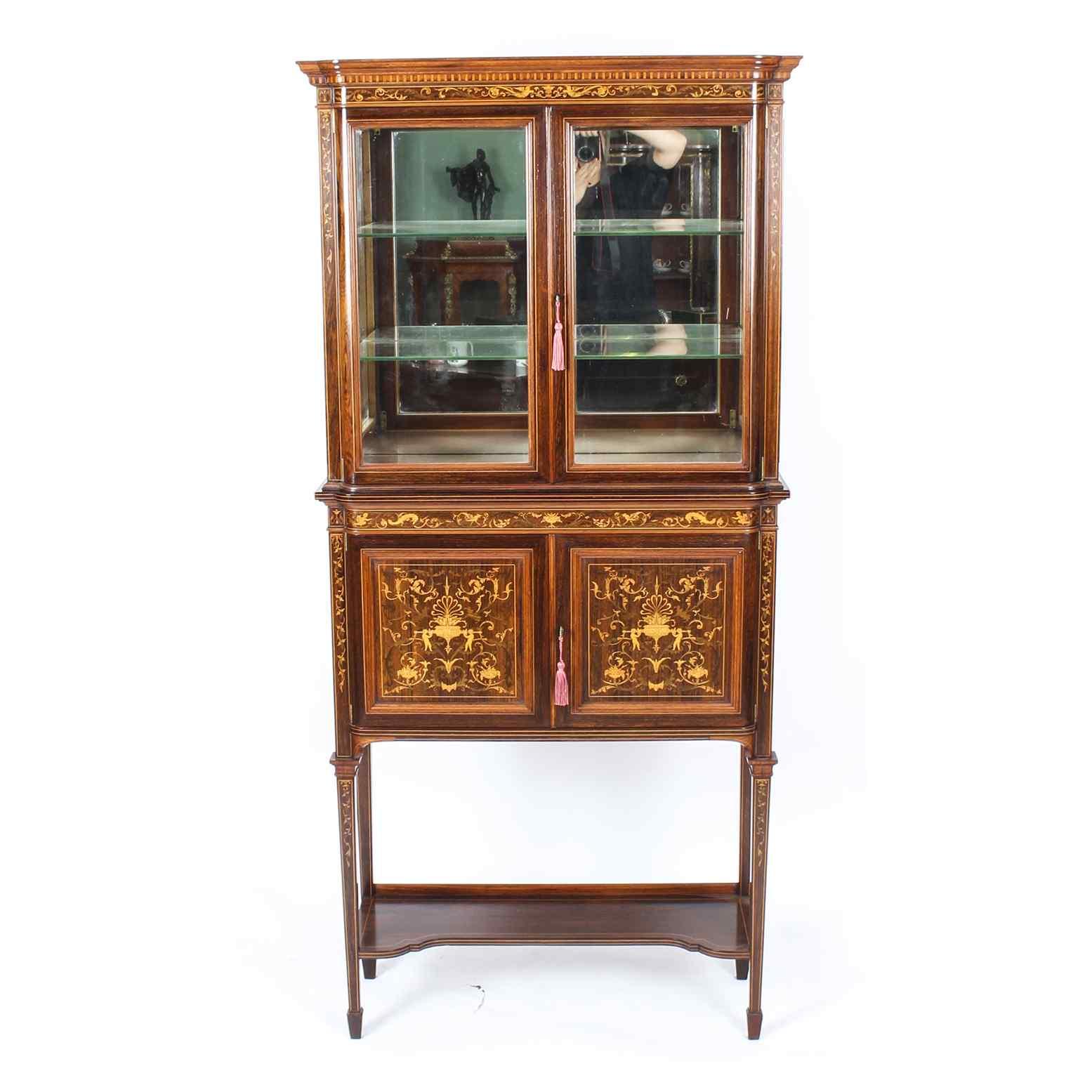 Antique Edwardian Inlaid Display Cabinet, Edwards & Roberts