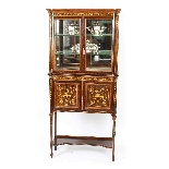 Antique Edwardian Inlaid Display Cabinet, Edwards & Roberts-2