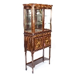 Antique Edwardian Inlaid Display Cabinet, Edwards & Roberts-1