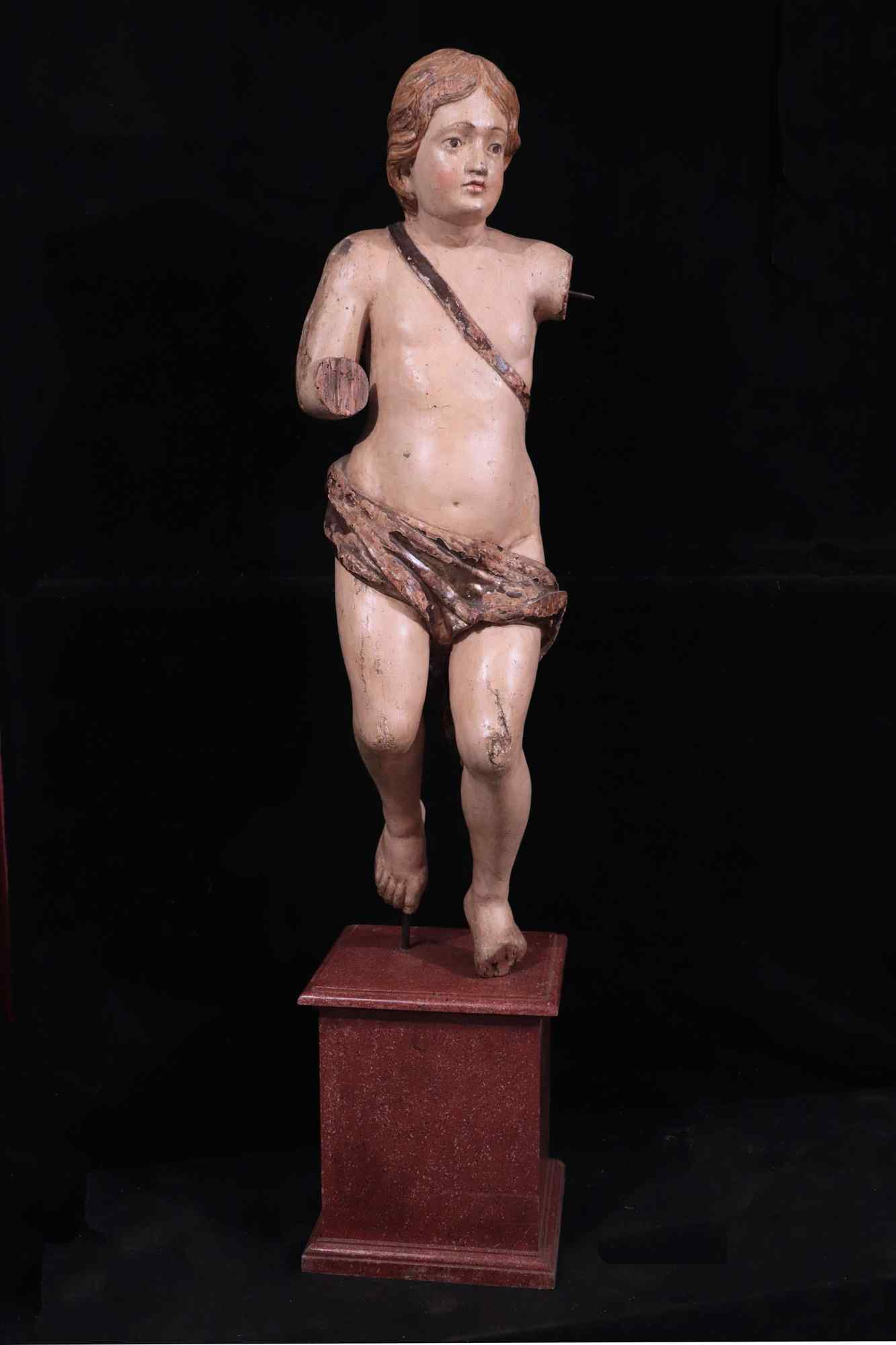 Large Sculpture: Polychrome Putto, 17th century