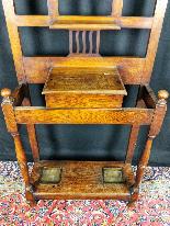 20th Century Art Nouveau Oak Coat Rack-7